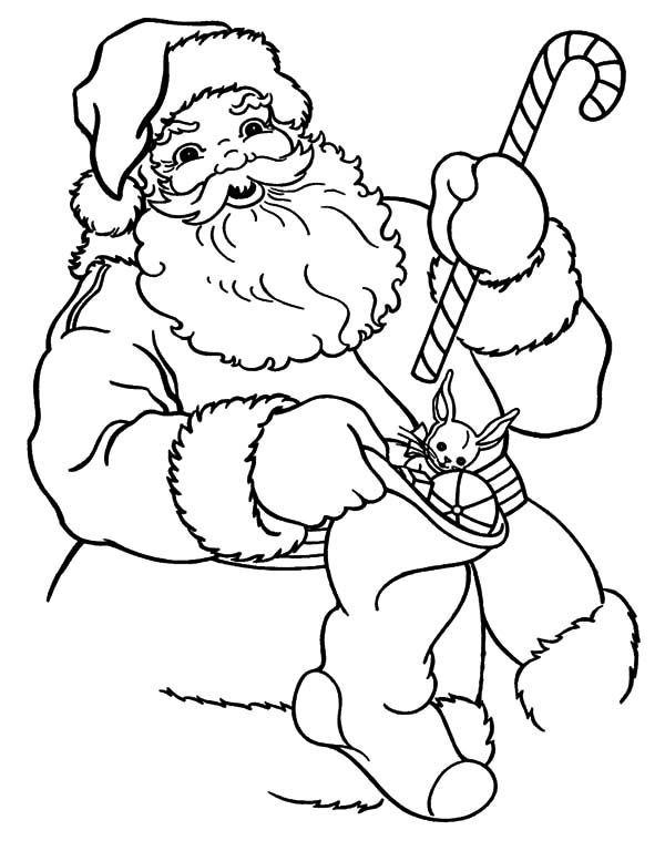 Santa Claus Put Candy Cane Into Sock Coloring Pages Santa Coloring Pages Candy Cane Coloring Page Dinosaur Coloring Pages