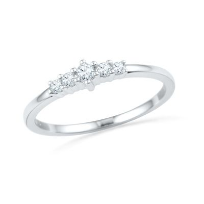 1/7 CT. T.W. Diamond Five Stone Promise Ring in 10K White Gold Orig. $299.00 Now $254.15
