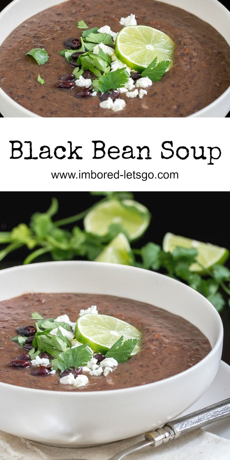 My tried and true recipe for the best Black Bean Soup! It's healthy, vegetarian and delicious. Perfect for this chilly day! Don't forget the garnishes.