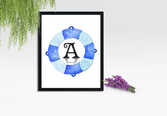 Nautical Letter A. INSTANT DOWNLOAD Printable Nautical Theme