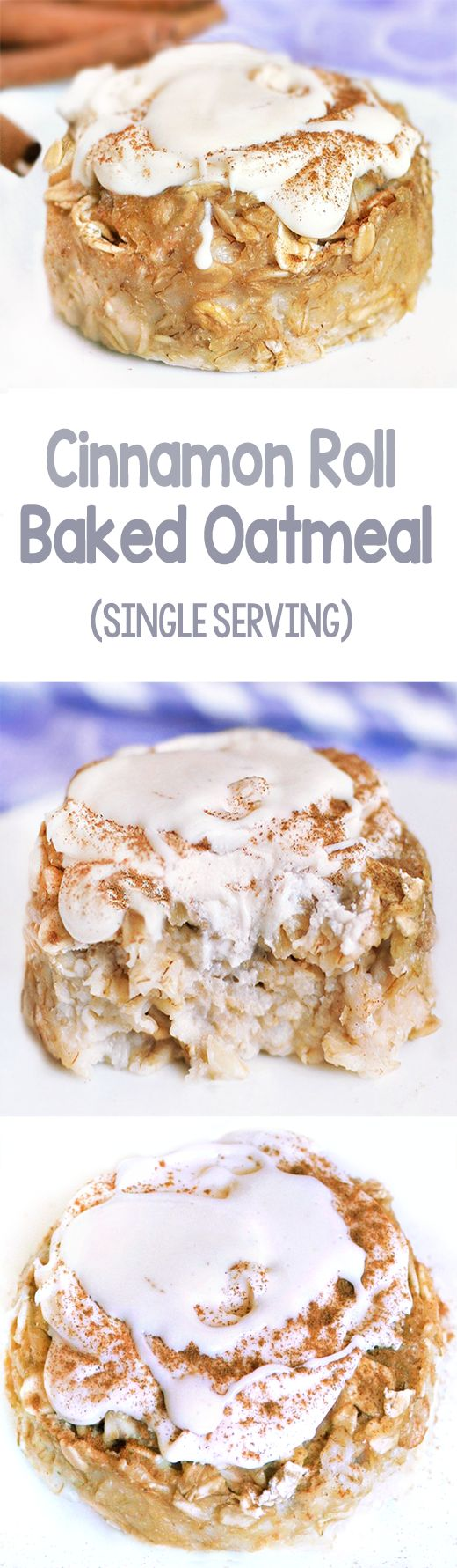 Satisfy your cravings for cinnamon rolls in a healthy way with this delicious and filling cinnamon roll baked oatmeal!