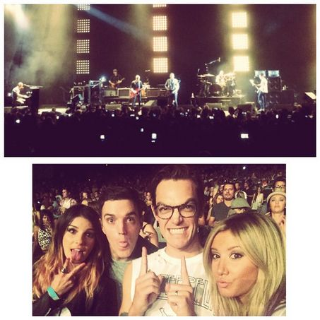 ''Kings of Leon at the hollywood bowl. Thanks to Lily Aldridge. #goodmusic #goodfriends''--Ashley Tisdale. (with Shenae Grimes,Josh Beech & Christopher French)