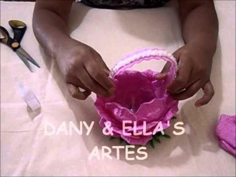 cestinha de garrafa pet com pétalas de rosa em eva - YouTube