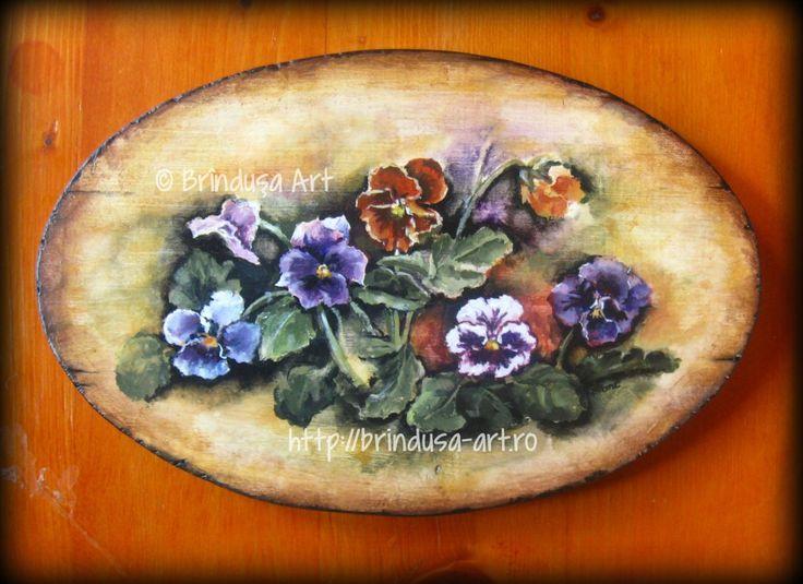 """Brîndușa Art """"Everybody needs beauty as well as bread..."""" (John Muir) Pansies - painted plaque, acrylics on wood. """"Fiecare om are nevoie de frumuseţe, la fel ca de pâine..."""" (John Muir) Panseluţe - tablou pictat pe lemn, în culori acrilice.  #flowers #flori #pansies #panselute #woodpainting #picturapelemn #acrylics #acrilice"""