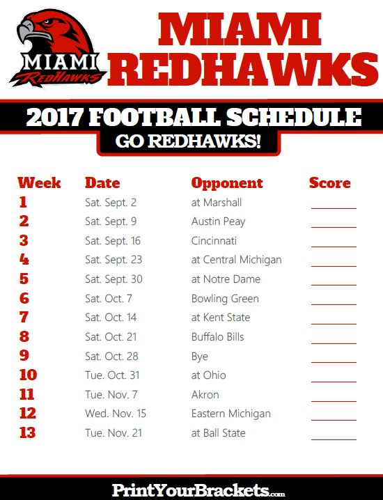 2017 Miami Ohio Redhawks Football Schedule