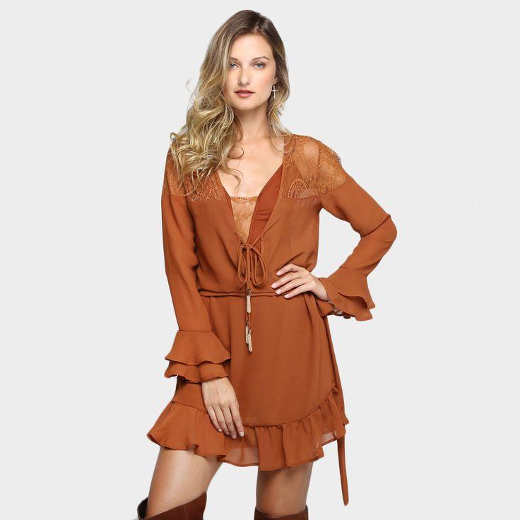Compre Vestido Colcci Babados e Renda Caramelo na Zattini a nova loja de moda online da Netshoes. Encontre Sapatos, Sandálias, Bolsas e Acessórios. Clique e Confira!