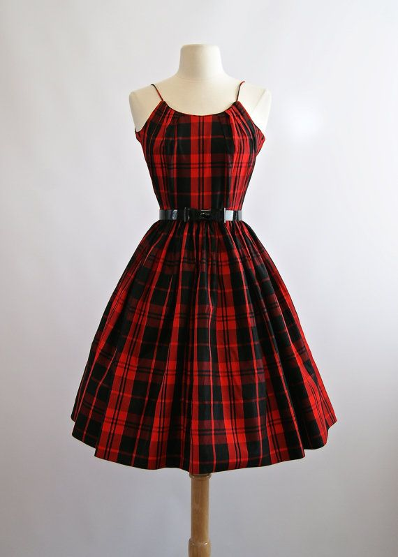 Vintage 1950s Red Plaid Party Dress  50s Red Full by xtabayvintage