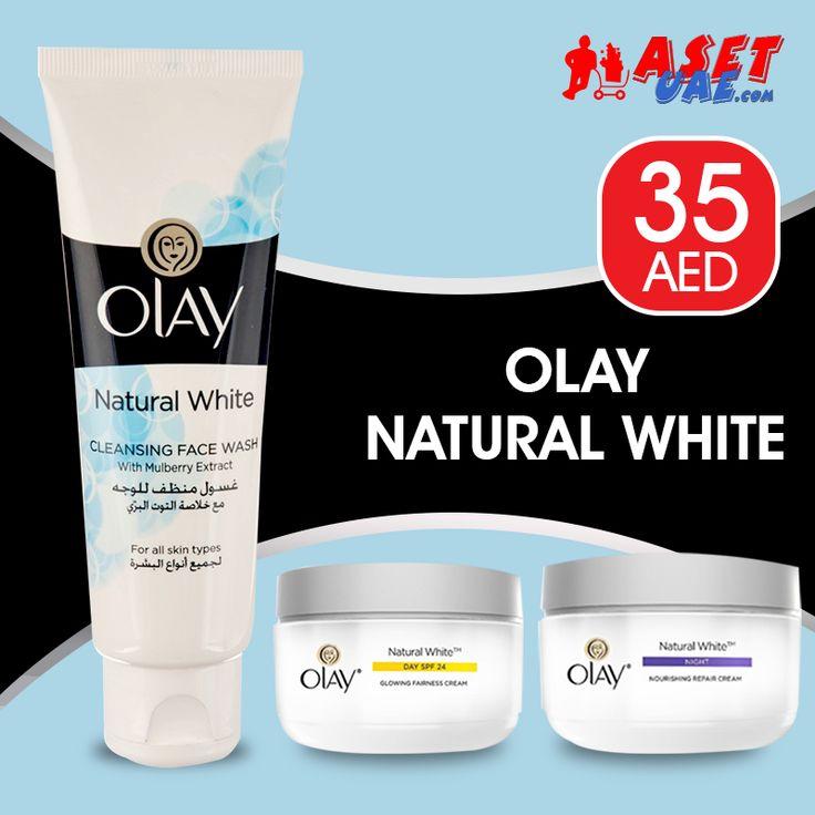 OLAY All-in-One ➜ AED 35   Olay Natural White -  Face Wash, Day Cream, Night Cream  ➜ Tel ☎️ : 045576800 ➜ WhatsApp 📱: 0551045757  WWW.ASET-UAE.COM #ShopWithAsetUae #asetuae #bundleoffer