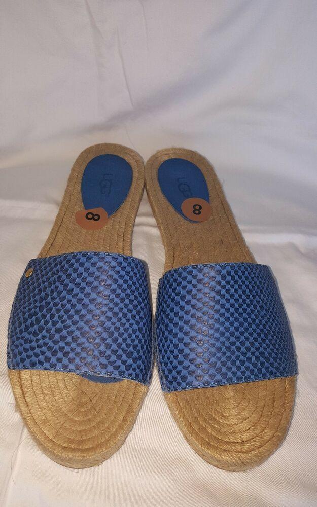 d18c560a8df UGG 'CHERRY EXOTIC' NEW LEATHER SLIDE SANDALS BLUE WOMEN'S SZ 8 ...