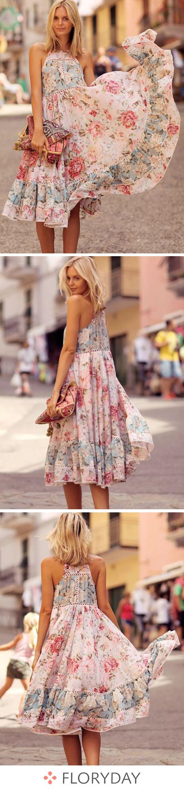 Floral Ruffles Skater Midi A-line Dress, floral dress, beautiful dresses, airy-feel dress, SS18