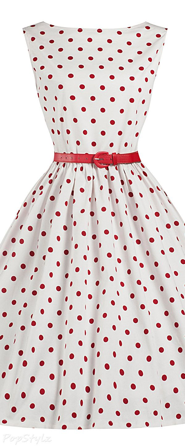 Lindy Bop 'Audrey' Polka Dot Vintage 1950's Swing Dress  love the belt with this one!