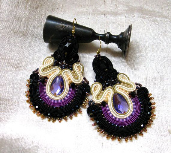 Purple gold Soutache earrings with Dangle by SOUTACHEANDOLDLACE
