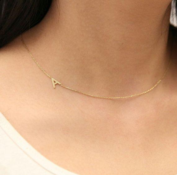 Oro lateralmente iniziale collana  collana d'oro  Collana