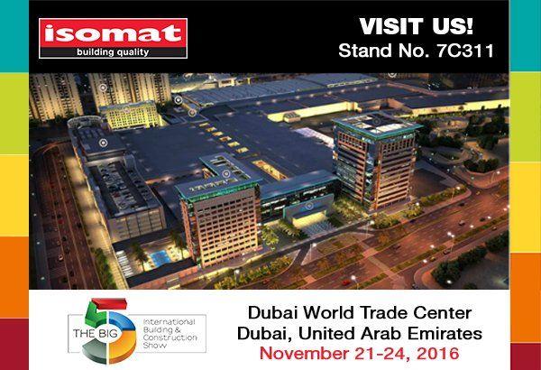 """Η Isomat θα συμμετάσχει στο """"Big5"""", την μεγαλύτερη παγκόσμια έκθεση κατασκευαστικών στο Ντουμπάι..."""