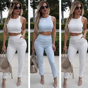 MNX 2 Piece Casual Set Women Crop Top +Pants High Waisted Elegant chandal mujer 2015 Pants Sets Tracksuit For Women - http://www.aliexpress.com/item/MNX-2-Piece-Casual-Set-Women-Crop-Top-Pants-High-Waisted-Elegant-chandal-mujer-2015-Pants-Sets-Tracksuit-For-Women/32430569489.html