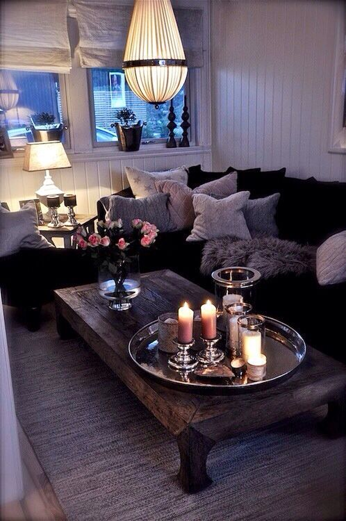 cozy, table, tray, candles, pillows, sofa,