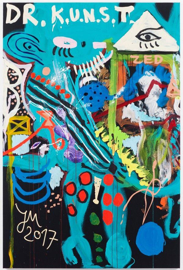 DR. DÄMONENJÄGER M.E.E.S.E.!. 2017. Jonathan Meese. Painting. Oil, acrylic and acrylic-putty on canvas