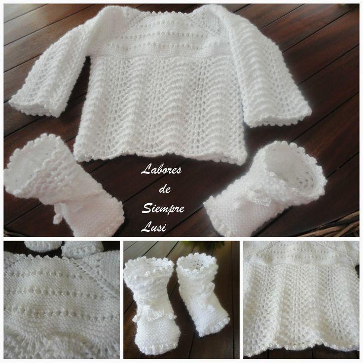 MATERIALES:  - 50g de lana Mondial,baby Anaïs en blanco  - 30g de perlé nº 5  - agujas de 2 y 1/2  - Ganchillo 2 y 1/2 mm  - 5 botones  PU...
