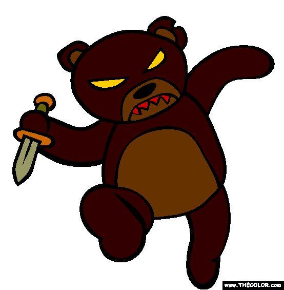 Halloween Scary Evil Teddy Bear Coloring Page | Teddy bear ...