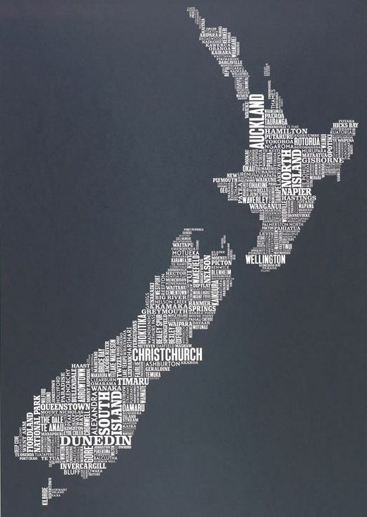 Coolest new Zealand map!