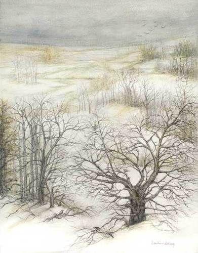 "Dimitrina Stamboldjiev Kutriansky's #graphite and #graphitint #winter #landscape #drawing ""Loneliness"" - 24""x20"""