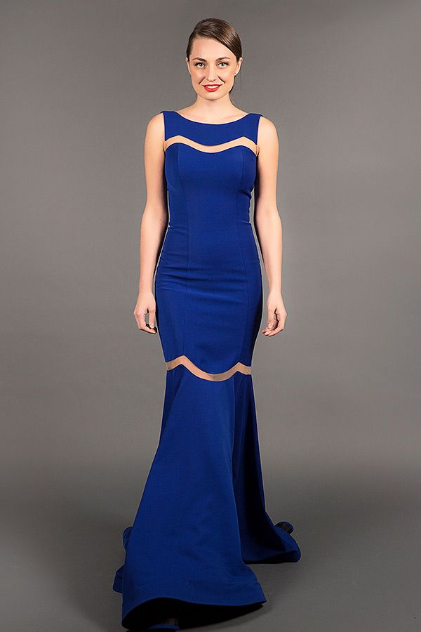 Royal Blue Trumpet Evening Gown