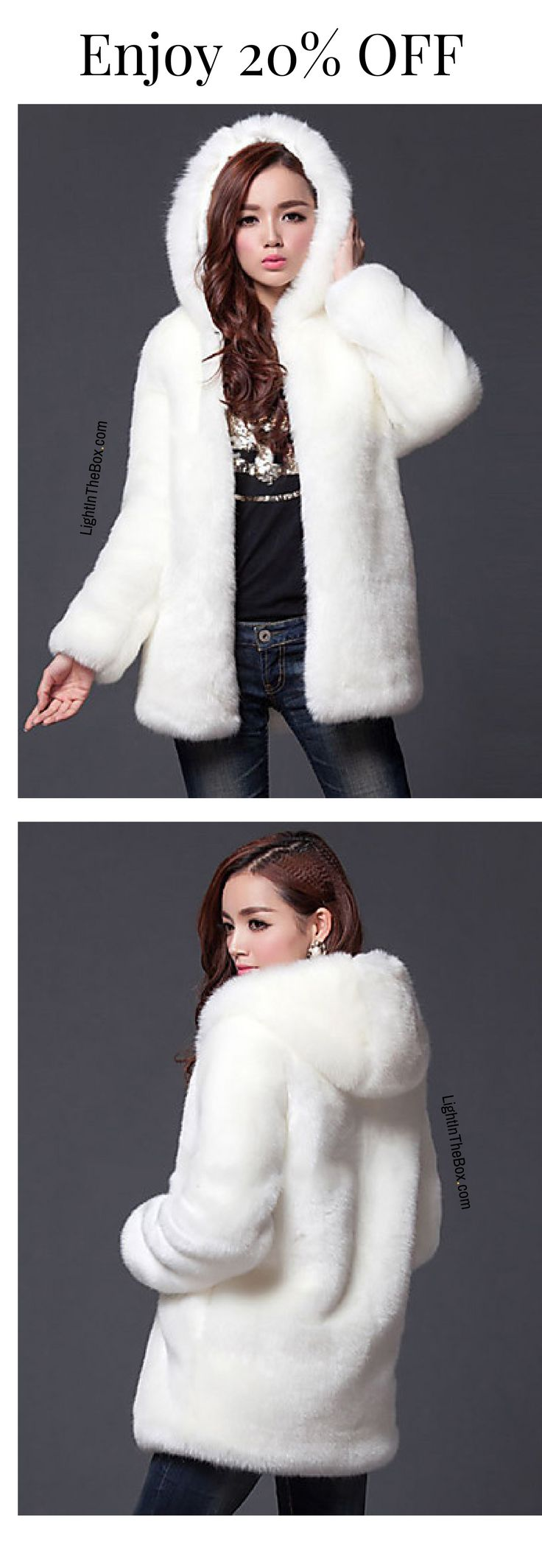 What is winter without a fur coat?  This is exactly what every woman needs - a sexy chic faux fur hoodie coat in white and black colours at just €31.80. Click to shop.