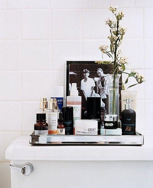 Domino: How To Control Your Clutter. Bathroom OrganizationBathroom IdeasBathroom  TrayBathroom ...