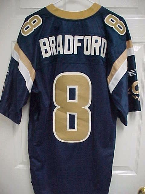 6c3c1fb6 SAM BRADFORD 8 St Louis Rams Blue Gold Embroidered Sewn Jersey M ...