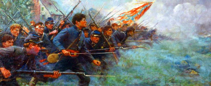 The cadet corps of the Virginia Military Institute crossing the fields of the Bushong Farm at the Battle of New Market, May 15, 1864.
