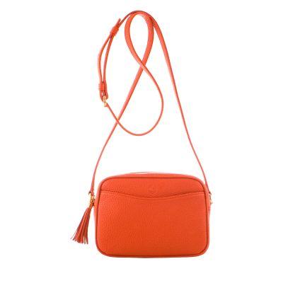 Orange, small-sized leather crossbody