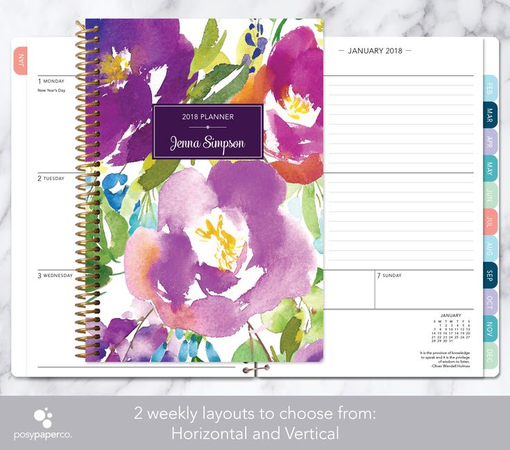 personalized planner 2018 & 2019 calendar | add monthly tabs custom weekly student planner | planner agenda | violet watercolor floral by posypaper on Etsy https://www.etsy.com/ca/listing/521171061/personalized-planner-2018-2019-calendar