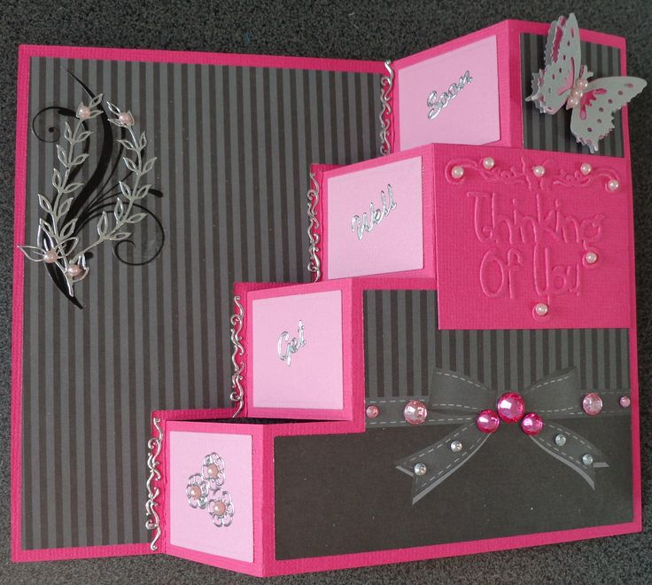 Step Pop Up Card - Thinking of you Butterfly.  Get Well Soon.
