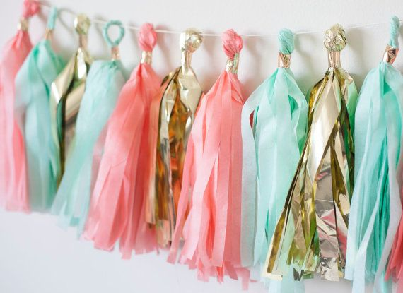 Minty Coral Tassel Garland 12 by LoveGarlands on Etsy