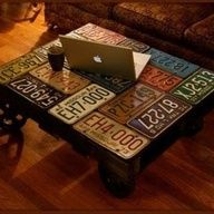 wood table covered w/ old license plates!!