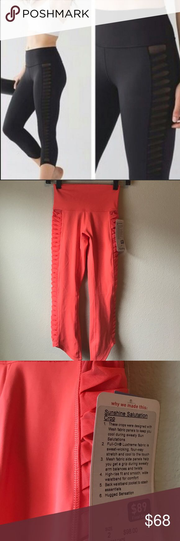 NWT LULULEMON SUNSHINE SALUTATION CROP -- Size 2 Brand: Lululemon Athletica sunshine Salutation crop | Cape Red NOT black | black is stock photo only  Condition: New with tag || Size 2   🚩NO TRADES  🚩NO LOWBALL OFFERS  🚩NO RUDE COMMENTS  🚩NO MODELING  ☀️Please don't discuss prices in the comment box. Make a reasonable offer and I'll either counter, accept or decline.   I will try to respond to all inquiries in a timely manner. Please check out the rest of my closet, I have various…