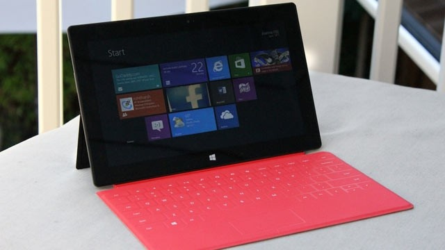 PHOTO: Microsoft's Surface RT tablet and Touch Cover costs $599 and runs Windows RT.
