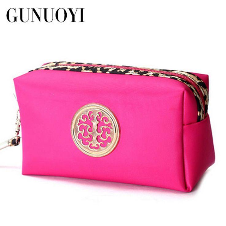 GUNUOYI Travel Wanita Tas Kosmetik Makeup Tas Pengerjaan Halus Portabel Pouch Bag Paket Ponsel Tahan Air Zipper