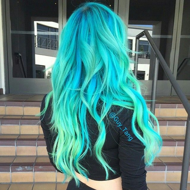 "Guy Tang on Instagram: ""Nothing beats this beautiful LA weather. #AlienCouture or basic #mermaid hair #guytang @sprmaryface #greenhair #bluehair @pravana mix of neon green clear, green, neon blue , blue and yellow"""