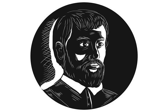 Hernando de Soto Explorer Circle  - Illustrations. Illustration of Hernando de Soto, Spanish explorer, conquistador who led the first European expedition of the modern-day United States, and the first European to have crossed the Mississippi River viewed from front set inside circle on isolated background done in retro woodcut style. #illustration  #HernandodeSoto