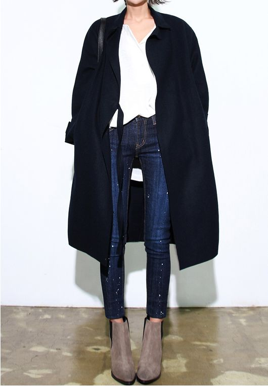 Black coat, denim and suede booties. Via Death by Elocution