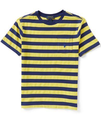 Ralph Lauren Childrenswear Big Boys 8-20 Wide-Stripe Short-Sleeve Tee #Dillards