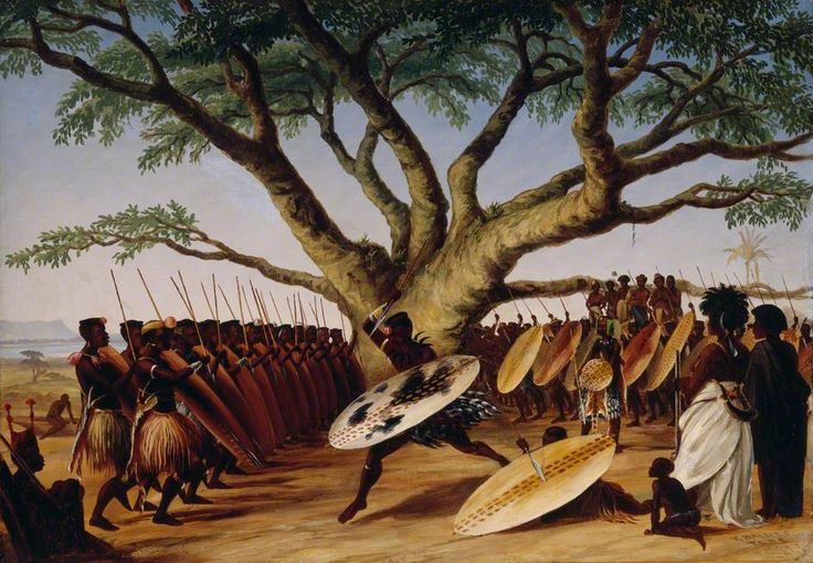 War Dance under a Fig Tree by Zulus by Thomas Baines Date painted: 1859 Oil on canvas, 54 x 75 cm Collection: Royal Botanic Gardens, Kew A scene depicting a group of Zulu people watching a performance of a 'war dance', southern Africa.