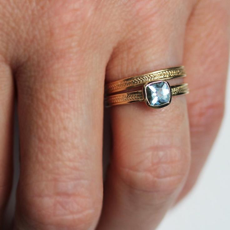 Aquamarine engagement ring set - wheat - braid - 14k yellow gold - wedding band - cushion - blue aqua - made to order. $880.00, via Etsy.