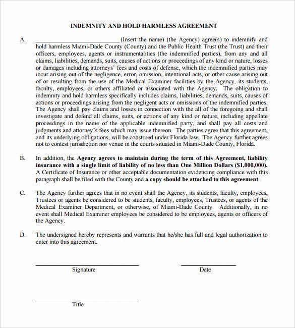 Hold Harmless Letter Template Elegant Hold Harmless Agreement 11