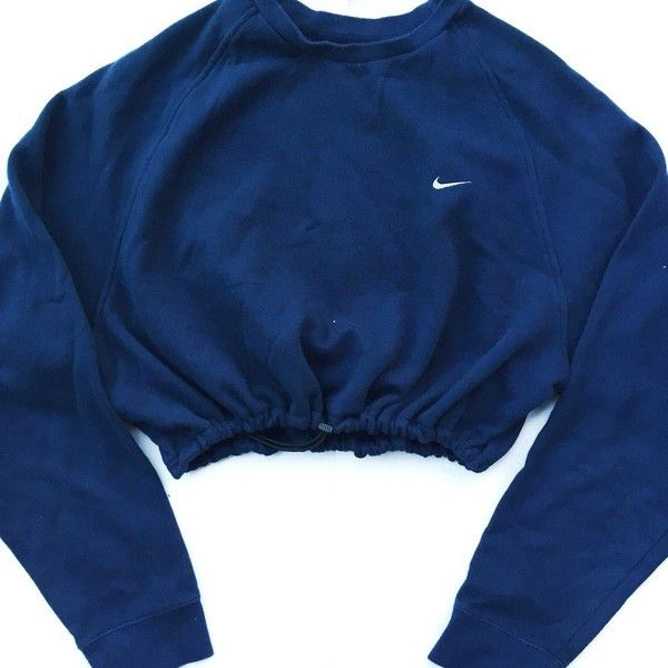 Reworked Nike Raglan Crop Sweatshirt Navy ❤ liked on Polyvore featuring tops, hoodies, sweatshirts, sweatshirts hoodies, navy blue crop top, nike sweatshirt, crop top e blue sweatshirt
