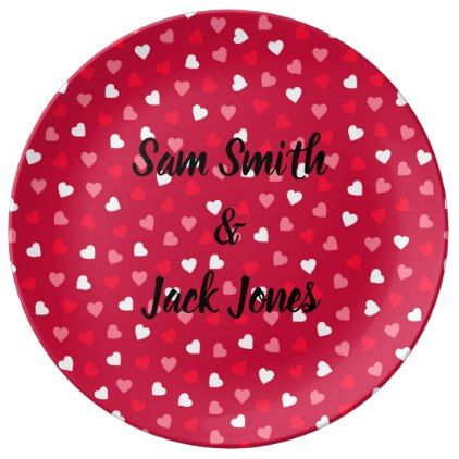 Personalized Tiny Valentine Hearts Red White Pink Dinner Plate - girlfriend love couple gift idea unique cool
