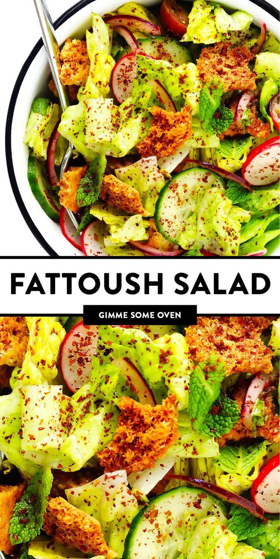 Fattoush Salad Recipe Gimme Some Oven Recipe In 2020 Fattoush Salad Salad Recipes Hearty Salads
