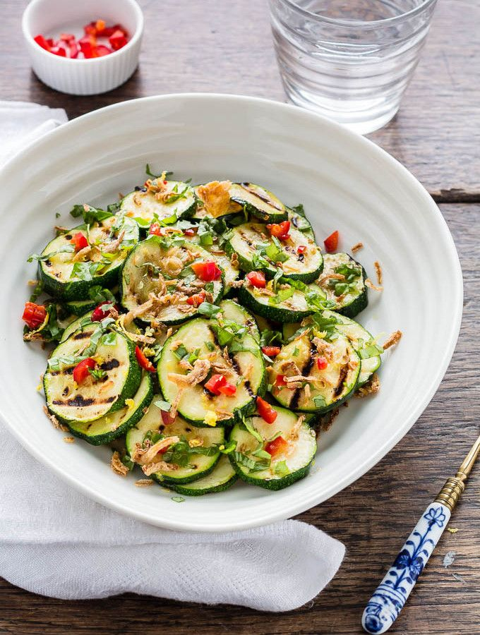 Roasted Courgette Salad with lemon, Chilli, basil and crispy shallots-4 | Recipes From A Pantry