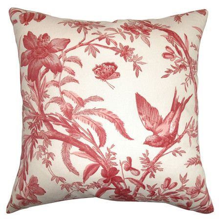 cotton pillow with a toile motif product material cotton cover and feather down fillcolor red and insert